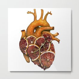 Blood Orange Heart Metal Print
