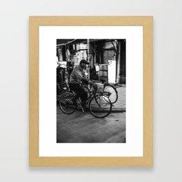 Asakusa Night Bike Framed Art Print