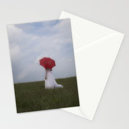 Bride with red umbrella Stationery Cards