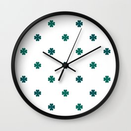 Saint Patrick Shamrock Clove Seamless Pattern Wall Clock
