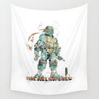 ninja turtles Wall Tapestries featuring Michelangelo Teenage Mutant Ninja Turtles by Carma Zoe