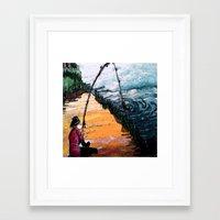 fishing Framed Art Prints featuring FISHING by aztosaha