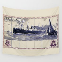 Red Star Line Antwerp New York Delft blue style Wall Tapestry