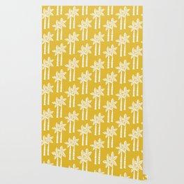 Palm Tree Pattern Mustard Yellow Wallpaper