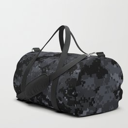 Pixelated Dark Grey Camouflage Duffle Bag