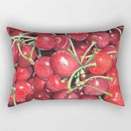 Juicy Watercolor Cherries Rectangular Pillow