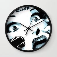 movie posters Wall Clocks featuring B-Movie  by Trixie & the Killer Productions