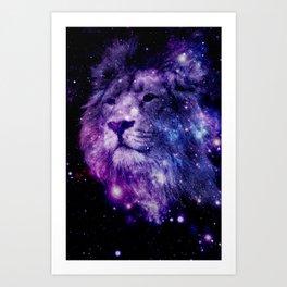 leo lion purple blue Art Print