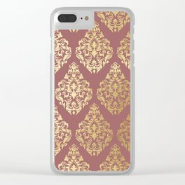Burgundy rose gold elegant damasque Clear iPhone Case