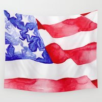 american flag Wall Tapestries featuring American Flag by Bridget Davidson