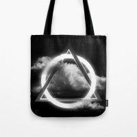 sacred geometry Tote Bags featuring Sacred Geometry - Trinity  06 by Harmonic Geometry