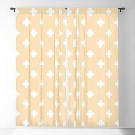 White Swiss Cross Pattern on Tan background Blackout Curtain