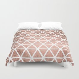 Geometric faux rose gold foil triangles pattern Duvet Cover