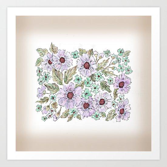 Colorful floral pattern . Beige background . Art Print