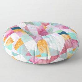 Collage texture geometry Pink Green Floor Pillow