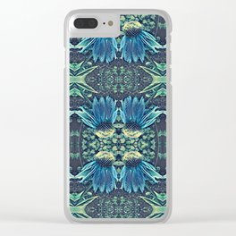 Blue Echinacea, Teal Cone Flowers, Blue Flower Dream Clear iPhone Case