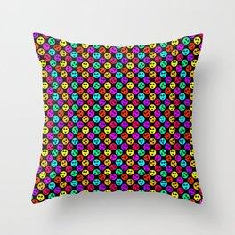 Mini Smiley Bikini Bright Neon Smiles on Black Throw Pillow