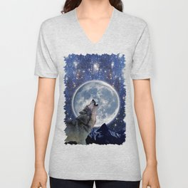 A One Wolf Moon Unisex V-Neck