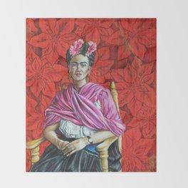Frida Kahlo with Poinsettias Throw Blanket