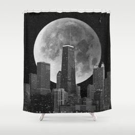 Full Moon Over Chicago Illinois Skyline Shower Curtain