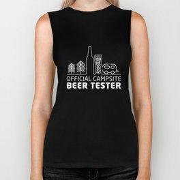 official campsite beer tester camp t-shirts Biker Tank