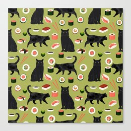 Black cat sushi cat breeds cat lover pattern art print cat lady must have Canvas Print