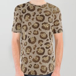 Brown Glitter Leopard Print Pattern All Over Graphic Tee