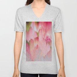Artsy abstract blush pink watercolor brushstrokes Unisex V-Neck
