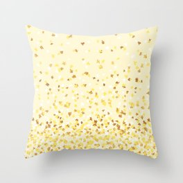 Floating Confetti - Yellow and Gold Throw Pillow