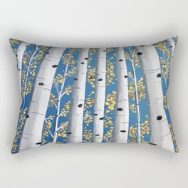 Fall Aspen Trees Painting Rectangular Pillow