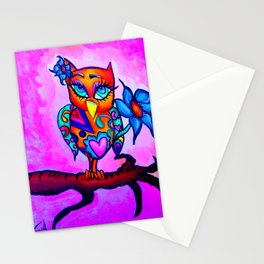 Cute & Spunky Orange Owl Stationery Cards