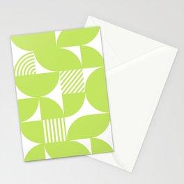 Lime Green Mid Century Bauhaus Semi Circle Pattern Stationery Cards