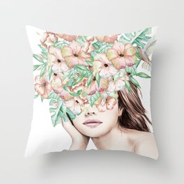 She Wore Flowers in Her Hair Island Dreams Throw Pillow