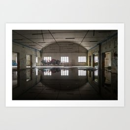 Interior of an abandoned factory Art Print