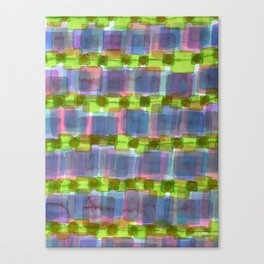 Purple Square Rows with Fluorescent Green Strips Canvas Print