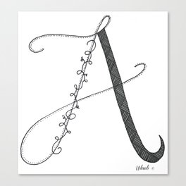 A - Letter Collection White Canvas Print