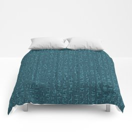 Hieroglyphics Moonstone BLUE / Ancient Egyptian hieroglyphics pattern Comforters