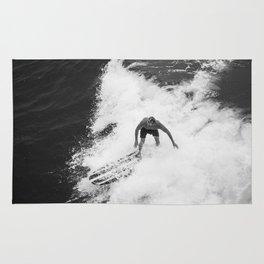 Black and White Wave Surfer Rug