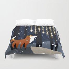 Fox and stars Duvet Cover