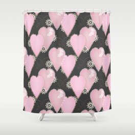 Retro . Applique. Textile pink hearts on a grey background . Patchwork . Shower Curtain