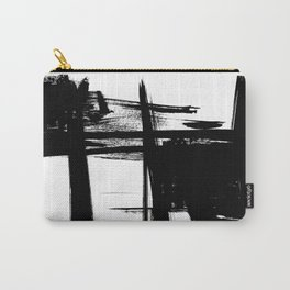 Black Brush Strokes Modern Minimalist Abstract Painting Art, nr 12 Carry-All Pouch
