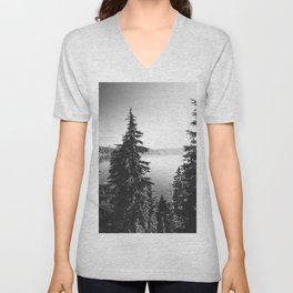 Mountain Lake Forest Black and White Nature Photography Unisex V-Neck