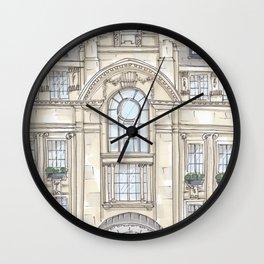 Hotel Facade Illustration Wall Clock