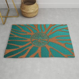 Tree of life  -Yggdrasil  - Embossed Faux Teal & Brown Leather Rug