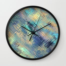 Modern Abstract Light Reflective, Teal, Purple, Gold, Glass, Optical Illusion Wall Clock