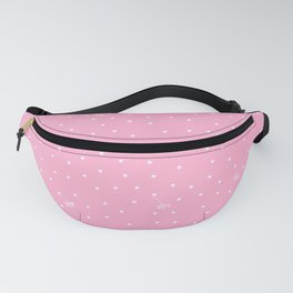 flying dandelion seeds simple Christmas seamless pattern and Snow White Confetti on Hot Pink Background Fanny Pack