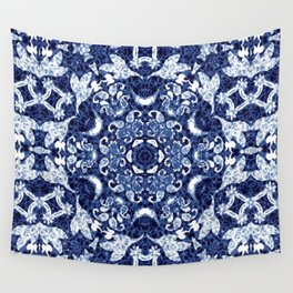 Boho Blue Medallion Wall Tapestry