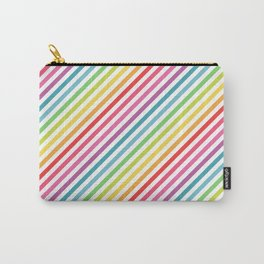 Rainbow Geometric Striped Pattern Carry-All Pouch