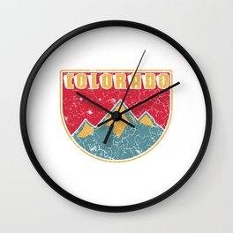 """Vintage Shirt For Colorado Lovers """"Colorado"""" Vintage T-shirt Design Mountaineers Climbing Hiking Wall Clock"""