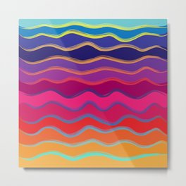 Wavy Color Tone Metal Print